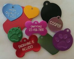 Custom ENGRAVED PET TAG Personalized Dog ID Charm IDENTIFICATION Cat ID Tags $3.49