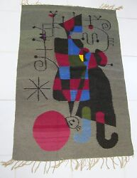 JOAN MIRO STYLE WOVEN WOOL TAPESTRY RUG STORED SINCE '86 AUCTION PURCHASE