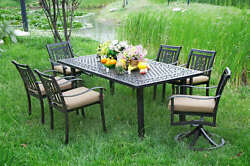 Heaven Collection Cast Aluminum Outdoor Dining Set A with 2 Swivel Chairs