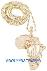Lion On Africa Map Pendant Necklace With 24 Inch 2mm Wide Box Link Style Chain