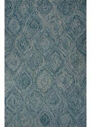 5x8 Rectangle Area Rug Contemporary 100% Wool Hand-Tufted Mineral Blue