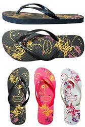 New  Ladies' Floral Print Beach Flip Flop Sandals size 5-10-- (**333L)  $5.98