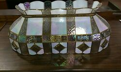 Vintage Stain glass Stained Hanging Ceiling iridescent Light fixture $500.00