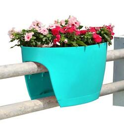 13.4 in. x 23.6 in. New Plastic XL Railing and Deck Planter Turquoise (2 pack)