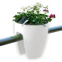 11.4 in. x 11.8 in. x 11.4 in. New Plastic Railing & Deck Planter White (2 pack)