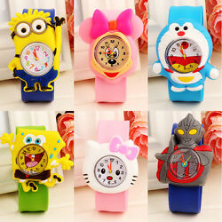 Cartoon Slap Snap On Silicone Wrist Watch Digital Boys Girls Children Kids Watch
