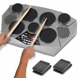 NEW Pyle PTED06 Electronic Tabletop Drum Machine Digital Drumming Kit $163.99