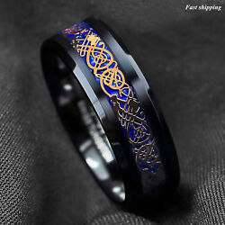 8Mm Black Tungsten Ring Rose Gold Celtic Dragon Blue carbon fibre ATOP Jewelry