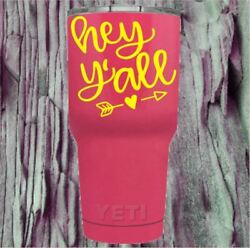 Monogram Vinyl Decal for Your Tumbler Cups Southern Quotes Hey Yall Sticker
