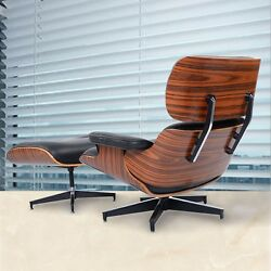 Eames Lounge Chair and Ottoman Luxury Armchair Footrest Rosewood Leather Black