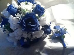 Royal Blue And White Wedding bouquet with boutonniere to match. RUSH ORDERS AVAI $28.00