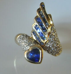 Heart Blue Sapphire Diamond Ring Color Engagement Mid Century Jewelry Wings