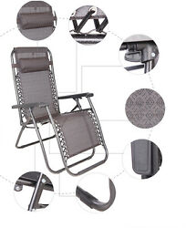 2PC Zero Gravity Chairs Lounge Patio Folding Recliner Outdoor Brown Color New