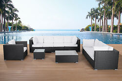 GARDEN LOUNGE FURNITURE BLACK WICKER OUTDOOR CONVERSATION SET WITH CUSHIONS