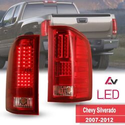 07 12 For Chevy Silverado 1500 2500 3501 LED Tail Lights Red Lens Rear Lamps $119.66