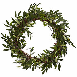 20quot; OLIVE WREATH NEW NEARLY NATURAL LARGE DOOR WALL GREEK ITALIAN DECOR FAUX $49.04