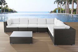 WICKER GARDEN LOUNGE WITH COFFEE TABLE FURNITURE PATIO SET PORCH BELIANI GRANDE