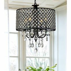 4-light Round Crystal Chandelier Drum pendant ceiling lighting Fixture Lamp US
