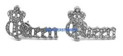 Queen Earrings with Crystal Rhinestones Crowned New Pendant Style Stud Post