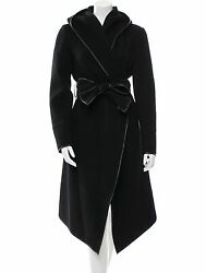 SPECTACULAR NEW $4995 DONNA KARAN CASHMERE COAT WITH LEATHER TRIM