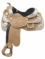Showman Argentina Cow Leather Show Saddle with Oak Leaf Tooling 16