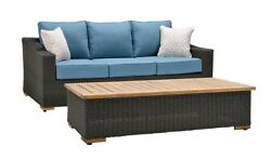 Luxury Wicker Patio Sofa Coffee Table Seating Relaxing Outdoor Pool Furniture