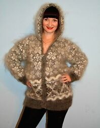 Cardigan with a hood hand knit  mohair soft  warm yarn curly goat down unisex