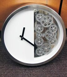 METAL CONTEMPORARY WALL CLOCK 15 1 4 DIAMETER WHITE WITH 12 MOVING GEARS 42829 $189.00