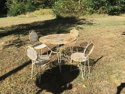 1950's Patio Wrought Iron Table & 4 Chairs