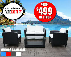 4 pc Outdoor wicker patio furniture all weather sofa set wcushions-many color