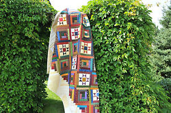 Handmade Traditional Rustic Patchwork King quilt log cabin ohio star
