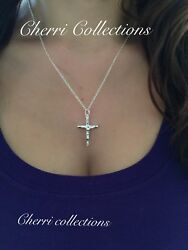 """925 Sterling Silver Women's Crucifix Catholic Cross Pendant Necklace N5"""""""