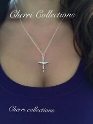 "925 Sterling Silver Women#x27;s Crucifix Catholic Cross Pendant Necklace N5"" $9.99"