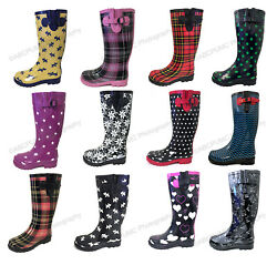 Women#x27;s Rain Boots Rubber Waterproof Colors Wellies Mid Calf Snow Boots Sizes $19.89