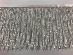By the Yard 6quot; Glass SILVER BUGLE Seed Beaded Fringe Lamp Costume Trim Crafts $15.99
