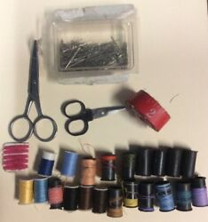 Sewing Supply Lot With Thread Scissors Tailors Measure Tape Spools Pre-owned