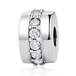 Shining Path 925 Sterling Silver Clear CZ Clip Fit European Charms Bracelet