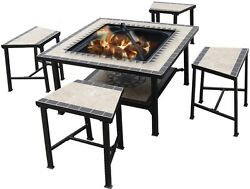 Fire Pit Firepit Outdoor Patio Backyard Fireplace Heater Wood Bowl Cover Garden