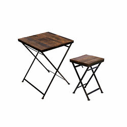 DROP-LEAF TABLE SIDE STOOL WOOD IRON SOLID GARDEN BALCONY