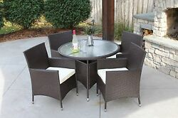 5 PC Modern Outdoor All Weather Wicker Rattan Round Table Patio Set Furniture Di