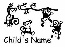 Custom Silly Monkeys With Kids Name Removable Vinyl Wall Art Decal Decor $15.89