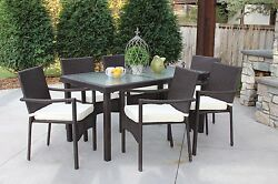 7 PC Outdoor All Weather Wicker Rattan Textured Glass Table Patio Set Furniture