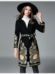 2017 womens winter Gold thread embroidery wool cashmere long coat jacket parkas