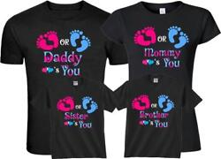Pink Blue Gender Reveal Pregnant Expected Baby Family Funny Matching Cute Shirts