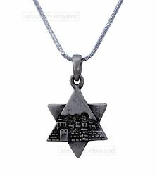 Star of David Magen Rhodium Plated Jerusalem Pendant Necklace Judaica Holy Gift