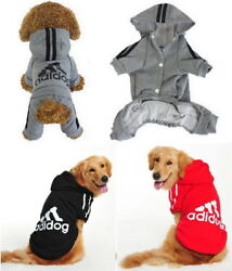 Adidog Small Large Pet Dogs Clothes Clothing Jacket Shirt Vest Hoodie Jumpsuit $7.78