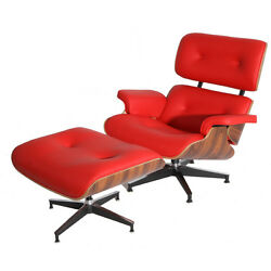 Eames Style Palisander Lounge Chair and Ottoman Set in Red Top Grain Leather