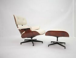 Eames Style Cherry Lounge Chair and Ottoman Set in Top Grain White Leather