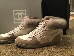 Chanel boots (or high top leather athletic shoes)--w Chinchilla trim  sz7-7 12