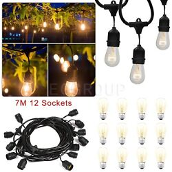24ft 12 LED E27E26 Outdoor Patio Globe String Lights Socket Base Wire String